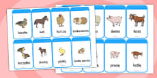 Mothers and their Young Farm Animals Flash Cards Polish