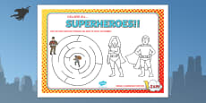Superhero Themed Birthday Party Activity Place Mats