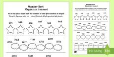 Place Value Number Sorting Activity Sheet English/Italian