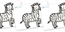 Foundation Stage 2 Keywords on Zebras