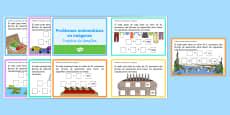 Problemas matemáticos en imagenes Tarjetas de desafío de matemáticas de atención a la diversidad