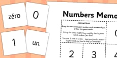 French Numbers 0-10 Memory Match Game