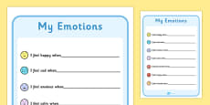 My Emotions Writing Template