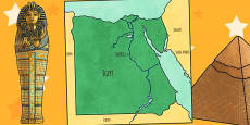 Map of Ancient Egypt Cut Out