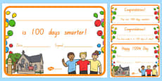 100 Days of School Certificates