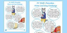 EYFS Home Learning Challenge Sheet Reception FS2 to Support Teaching on Mr Wolfs Pancakes