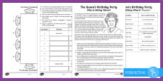 The Queen's Birthday Party - Who is Sitting Where? Maths Puzzle Go Respond Activity Sheet