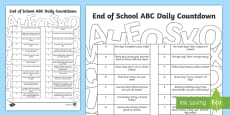 End of School Year ABCs Daily Countdown Activity Sheet