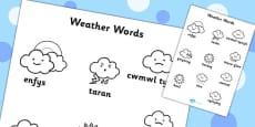 Weather Words Colouring Sheet Welsh Translation