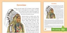 Native Americans Geronimo Information Sheet