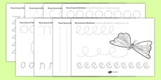 Pencil Control Worksheets to Support Teaching on The Very Hungry Caterpillar