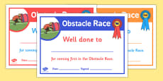 Sports Day Obstacle Race Certificates