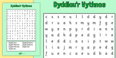 Days of the Week Word Search Cymraeg