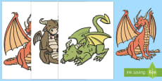 A3 Large Dragons Display Cut-Outs
