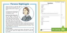 Florence Nightingale Differentiated Reading Comprehension Activity