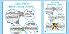 Home Learning Challenge Sheet Jungle Animals Themed Reception FS2