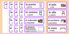 Spanish Classroom Word Cards Portuguese Translation