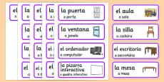 Spanish Classroom Word Cards Portuguese Translation