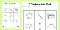 p Phonics Colouring Activity Sheet