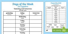* NEW * Days of the Week Yesterday and Tomorrow Activity Sheet English/Polish