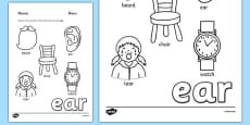 Phase 3 Trigraph Colouring Sheets ear