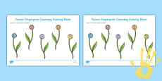 Flower Fingerprint Counting Activity Sheet Pack