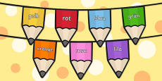 Colours on Pencil Bunting German