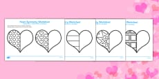 Valentine's Day Heart Symmetry Sheets Romanian Translation