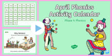 Phase 4 April Phonics Activity Calendar PowerPoint