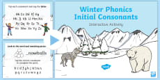 Winter Phonics Initial Consonants Interactive PowerPoint