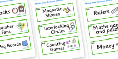 Rock Pool Themed Editable Maths Area Resource Labels