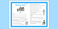 My New Class Social Story Sheet Primary