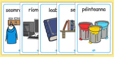 Classroom Objects Display Posters Gaeilge