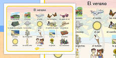 Summer Word Mat Images Spanish