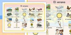Summer Word Mat Images Spanish