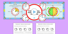 Telling the Time Quarter Past, Half Past, Quarter to Task Setter PowerPoint and Activity Sheets Polish
