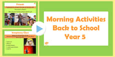 Year 5 Back to School Morning Activities PowerPoint 1 Week