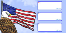 USA Themed Editable Drawer Labels Blank