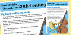Musical Styles Through the 20th Century Big Band and Swing Information Poster