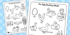 Ugly Duckling Words Colouring Sheet