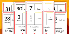 Chinese Numbers 1-31 With Mandarin Pronunciation Display Posters