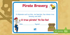 * NEW * Pirate Bravery Certificate