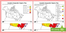Canada's Geographical Regions Map Differentiated Colouring Page