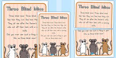 Australia - Three Blind Mice Nursery Rhyme Poster