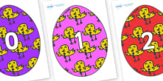 Numbers 0-100 on Easter Eggs (Chicks)