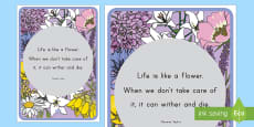 Floral Inspirational Quote Taylor Display Poster