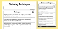 Finishing Techniques Activity Sheet