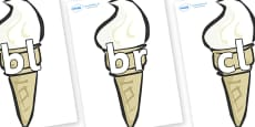 Initial Letter Blends on Ice Creams