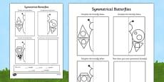 Butterfly Symmetry Shape Activity Sheet (Minibeasts)