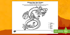 Chinese Dragon Number Colouring Sheet English/Polish